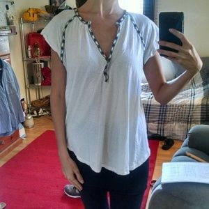 Madewell linen blend embroidered tee